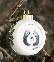 Porcelain Christmas Ornament - Bearded Collie