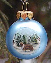 Tiny glass ornament - Bearded Collie