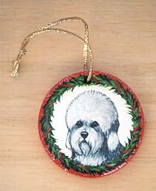Small Flat Hardwood Ornament - Dandie Dinmont Terrier