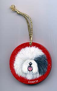 Small Flat Hardwood Ornament - Old English Sheepdog