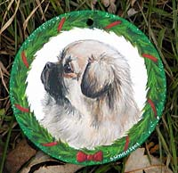 Medium Flat Hardwood Ornament - Tibetan Spaniel