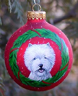 Large glass ornaments - West Highland White Terrier