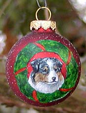 Small glass ornament - Australian Shepherd