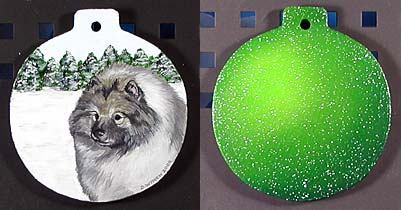 Large Flat Hardwood Ornament - Keeshond