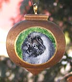 Turned Hardwood Xmas Ornament - Keeshond