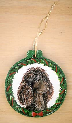 Large Flat Hardwood Ornament - Irish Water Spaniel