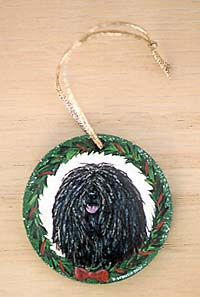 Small Flat Hardwood Ornament - Puli