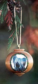 Turned Hardwood Ornament - Skye Terrier