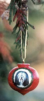 Turned Hardwood Ornament - Tibetan Terrier